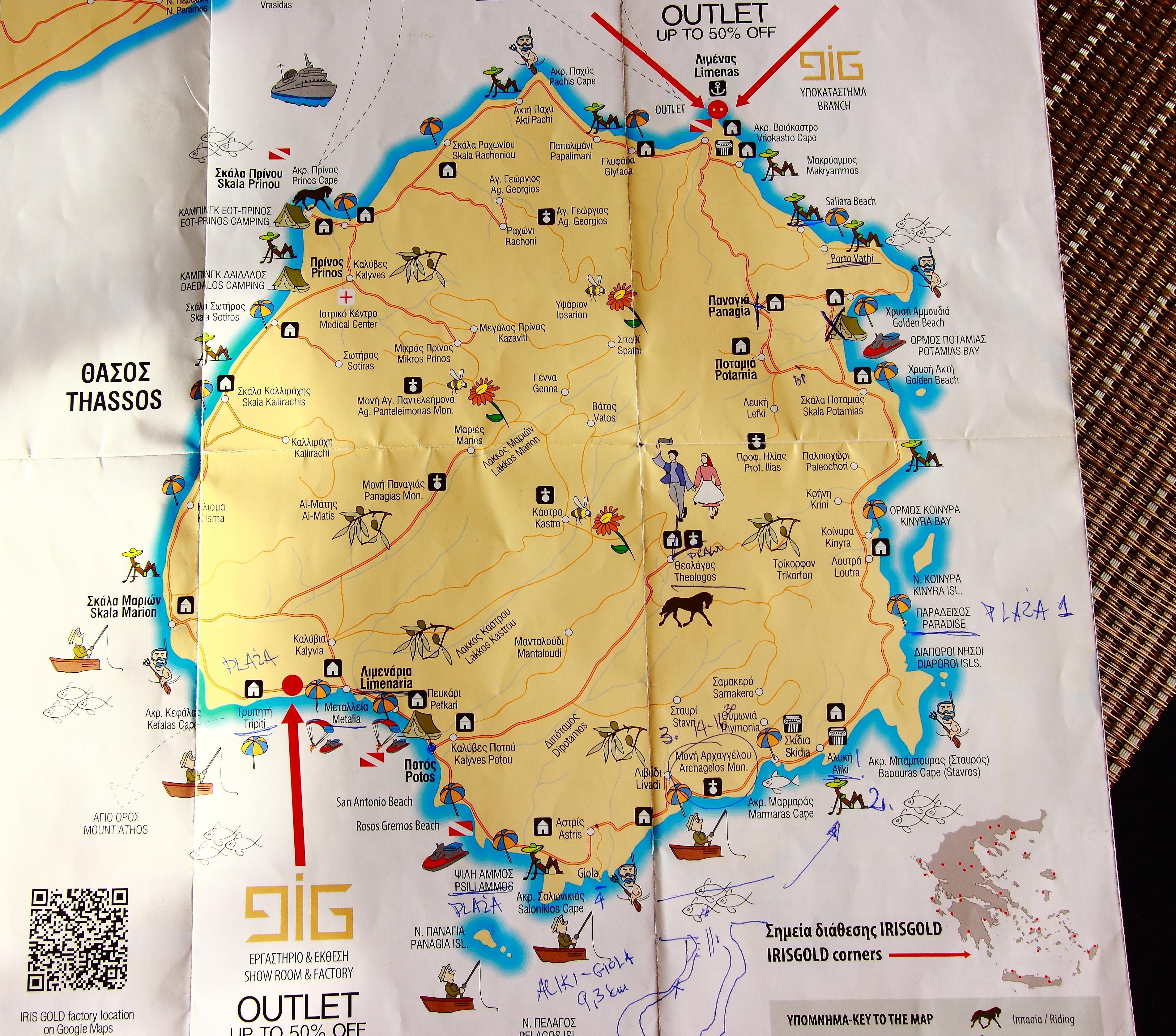 Mapa Thassos. Przygodę rozpoczęliśmy na wschodzie wyspy w Skali Potamias, kierując zgodnie z ruchem wskazówek zegara.