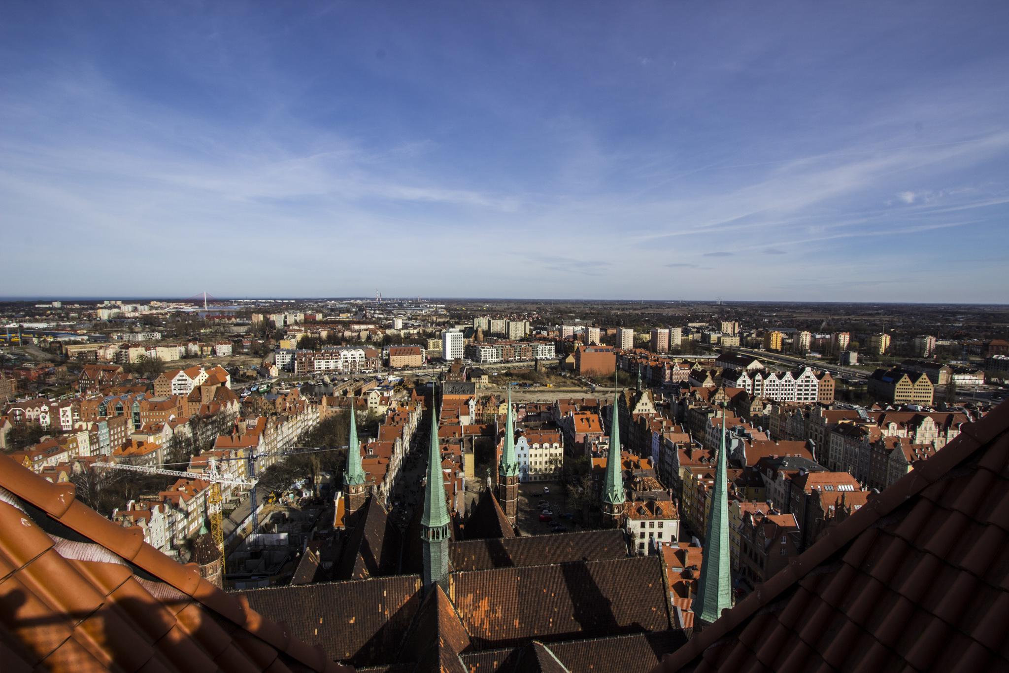 Widok z Wieży Mariackiej na Gdańsk
