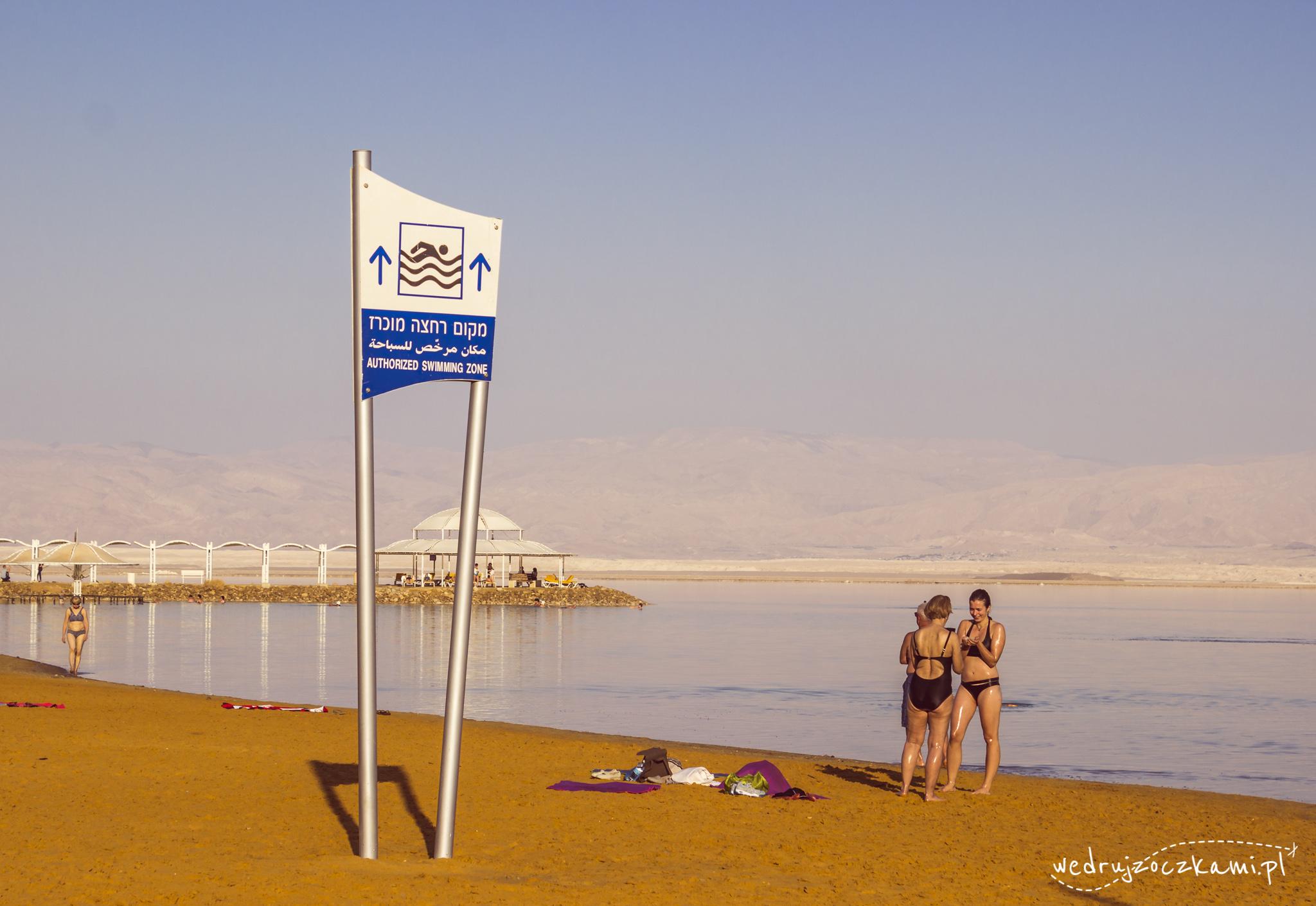 Ein Bokek, Morze Martwe. Miejsce przeznaczone do kąpieli.